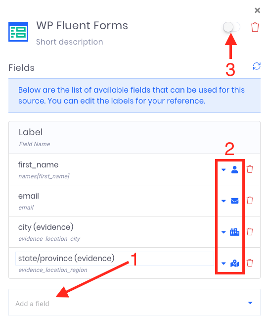 Once Evidence has found the correct form, customize the data that can be pulled from the form to display in the notification.