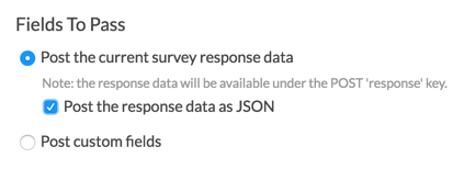 Post the current survey response data. Post the response data as JSON.