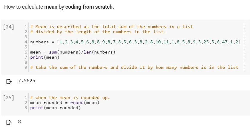 How to calculate mean in python by coding from scratch manually.