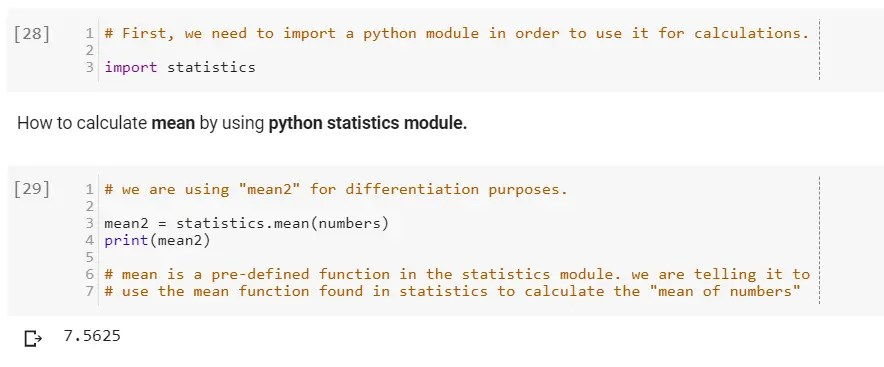 How to calculate mean by using python statistics module.