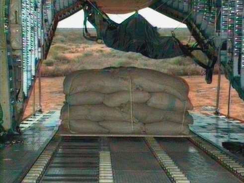 Cargo bay of a Transall unloading food