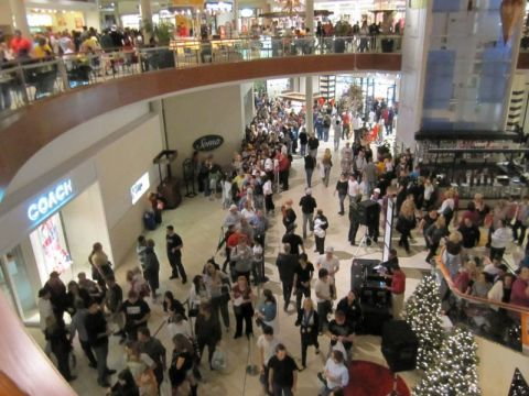 Shopping crowd at mall on Black Friday