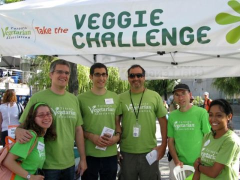 People from the Toronto Vegetarian Association posing for picture