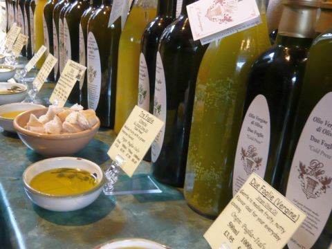 Bottles of olive oils