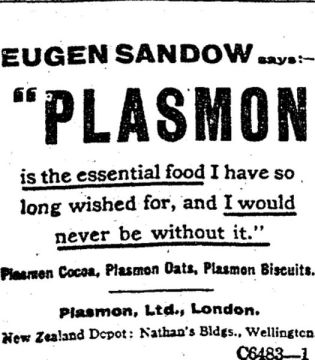 Eugen Sandow Plasmon advertisement
