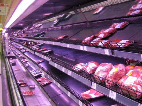 Meat aisle at supermarket.