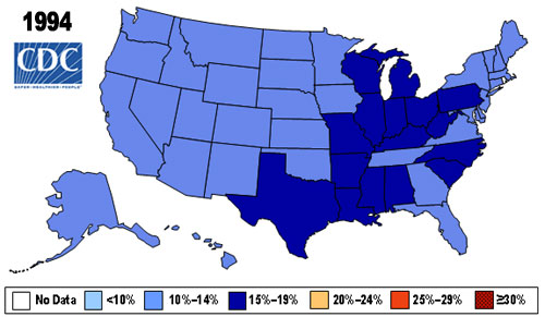 US obesity rates in 1994