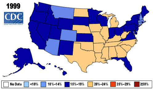 US obesity rates in 1999.