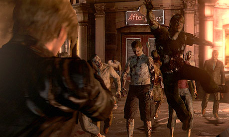 That zombie's not leaping at Leon, he's actually trying to jump into a much better game.