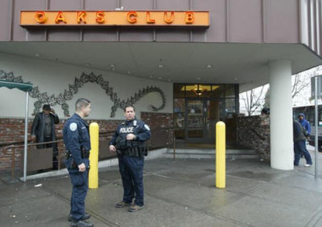 Different law enforcement agencies enter the Oaks Club in Emeryville, Calif. during a raid that started at around 6:00 a.m., shutting the card club down on Wednesday March 2, 2011. Patrons of the club and staff were searched for any weapons and interviewed during the raid according to one patron, Don Ramos, who was having breakfast at the club when police entered. (Laura A. Oda/Staff)