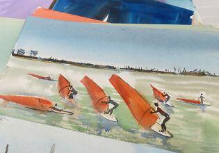 Darrrel Carroway brought water colors including windsurfers.