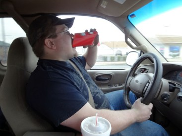 The correct way to eat fries while driving.