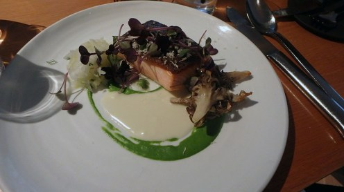 Pan-Roasted Salmon with Hen of the Woods Mushrooms and Horseradish