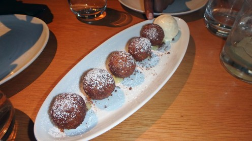 Spiced Chocolate Beignets with Crème Catalan and Ginger Ice Cream