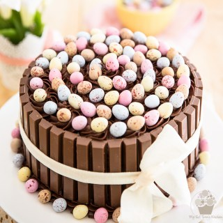 Easter KitKat Cake with Cadbury Cream Egg Filling