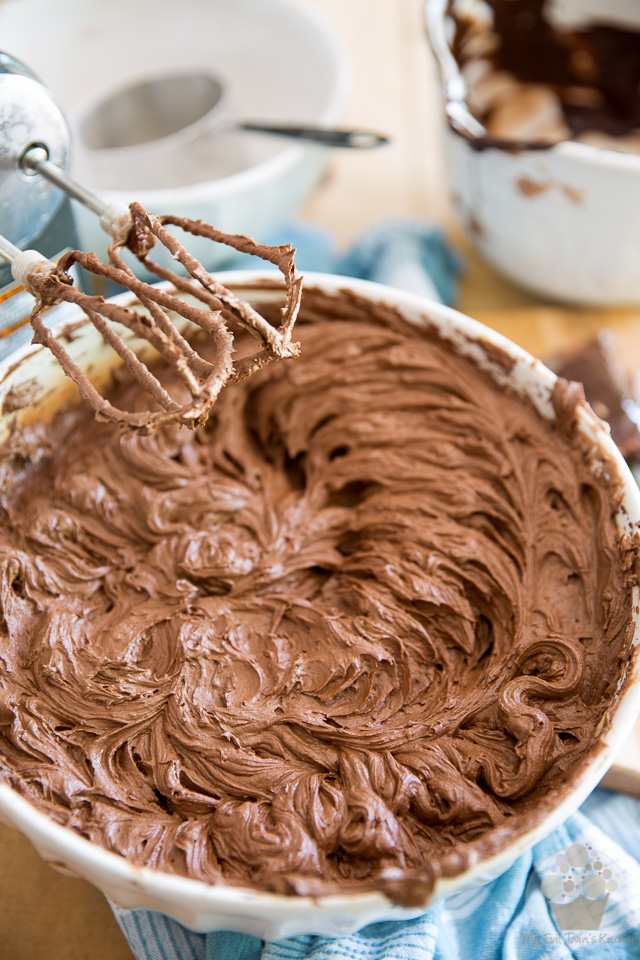 Beat on high speed until completely combined - part of step by step instructions to make the most delicious Chocolate Fudge Frosting