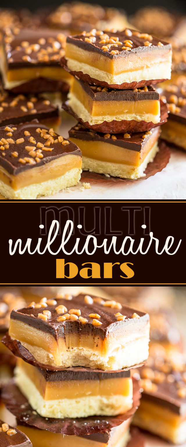 A soft and buttery shortbread cookie topped with a thick layer of creamy, chewy caramel and tasty dark chocolate, these multi millionaire bars will make you feel like you've just won the lottery!