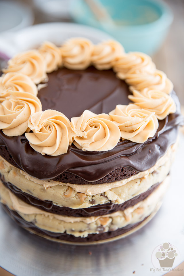 Brownie and Butterscotch Cookie Dough Layer Cake by My Evil Twin's Kitchen   Recipe and step-by-step instructions on eviltwin.kitchen