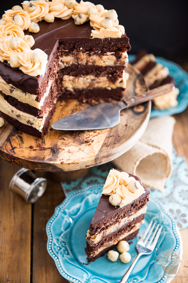 Brownie and Butterscotch Cookie Dough Layer Cake by My Evil Twin's Kitchen | Recipe and step-by-step instructions on eviltwin.kitchen