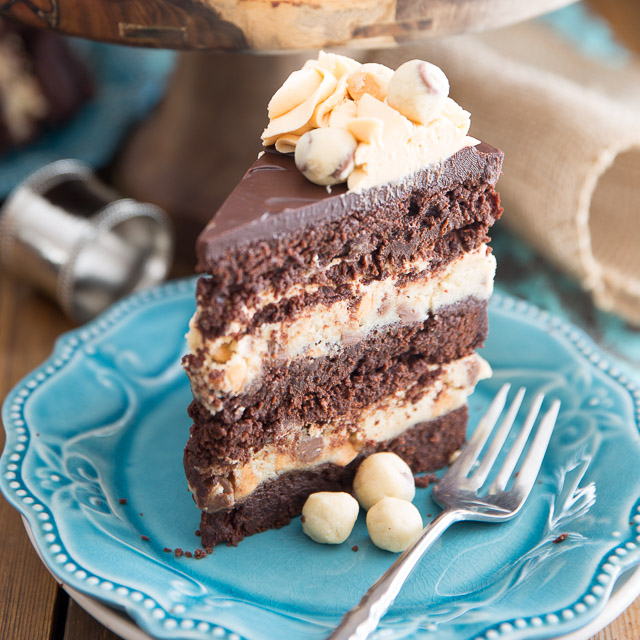 Brownie and Butterscotch Cookie Dough Layer Cake