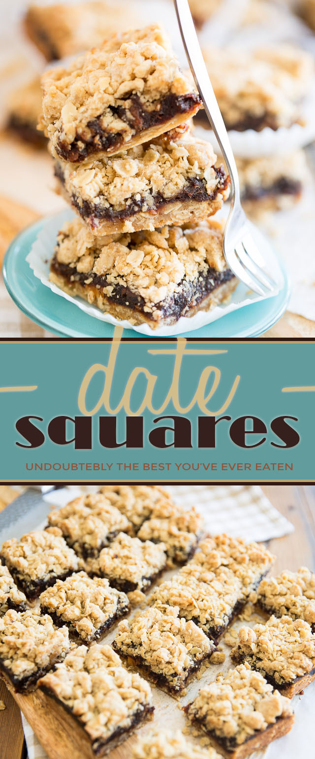 Rich and creamy pureed dates trapped between two layers of crispy, buttery oatmeal crust. That's Date Squares for ya... Dreamy, is what I'd call them!