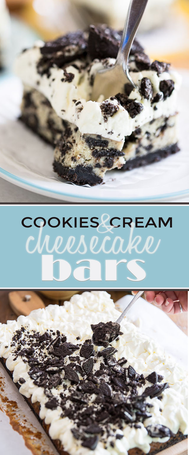 Not only are these Cookies and Cream Cheesecake Bars delicious to eat but they're so light and silky they feel like you're biting straight into a cloud