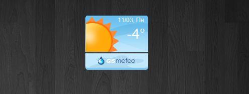 Прогноз погоды от Gismeteo на рабочем столе