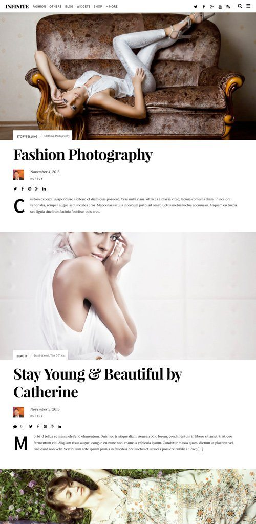 best premium blogging theme: Infinite