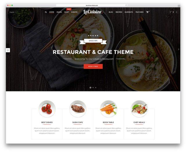 best premium wordpress restaurant themes: LaCuisine