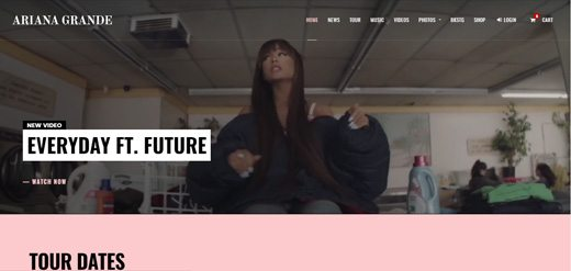 notable websites using wordpress: Ariana Grande