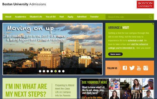notable websites using wordpress: Boston University Admissions