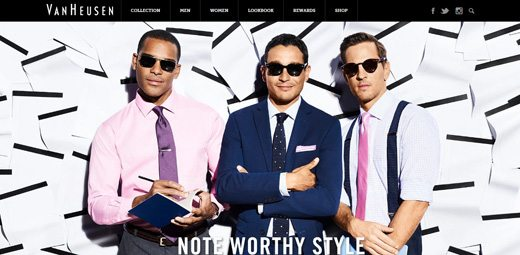 notable websites using wordpress: Van Heusen