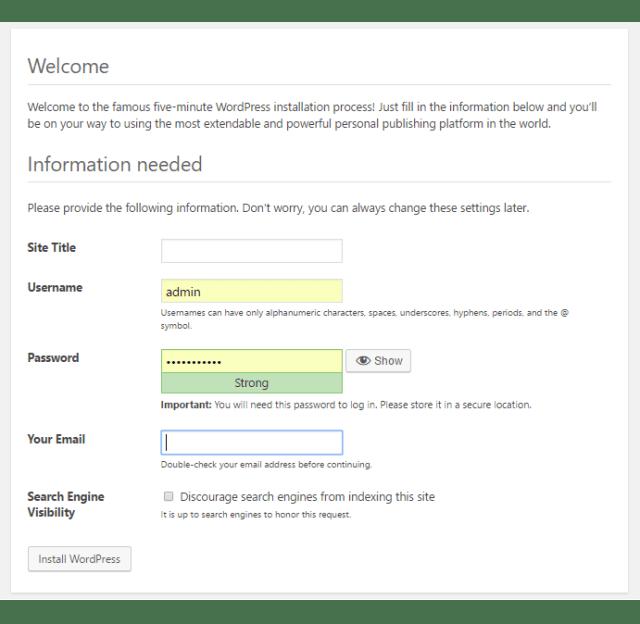 install wordpress locally final form