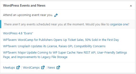 wordpress 4.8 events and news widget