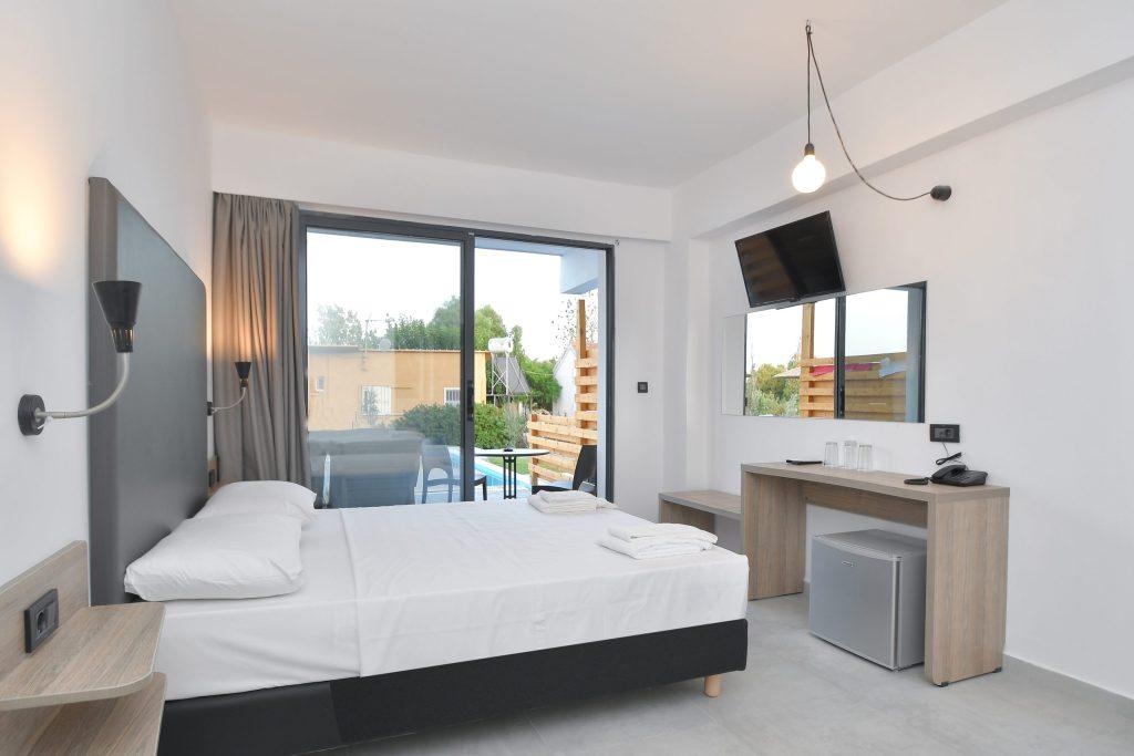 Evita Mare Hotel Sharing Pool Indoor Room View Faliraki Rhodes Greece