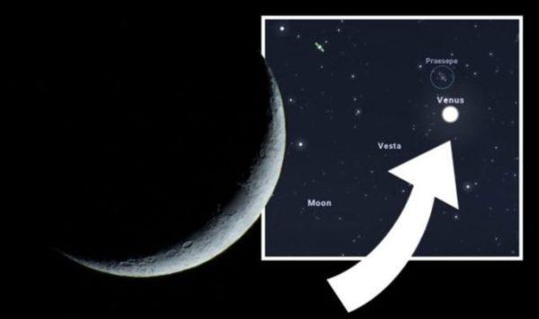Яркая звезда рядом с Луной