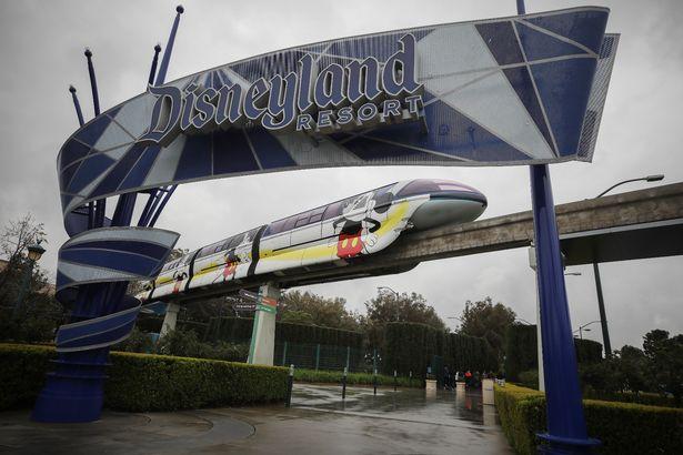 Монорельсовый поезд курсирует по рельсам вокруг тематического парка.