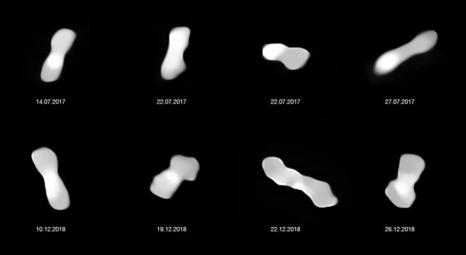 ESO делает фотографии странного астероида «собачья кость»