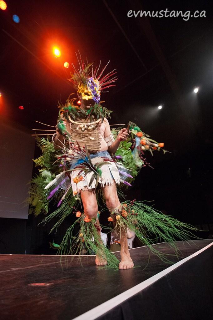 James Pinesii Whetung modeling Cheryl Ellis's design with Pammett's Flower Shop materials