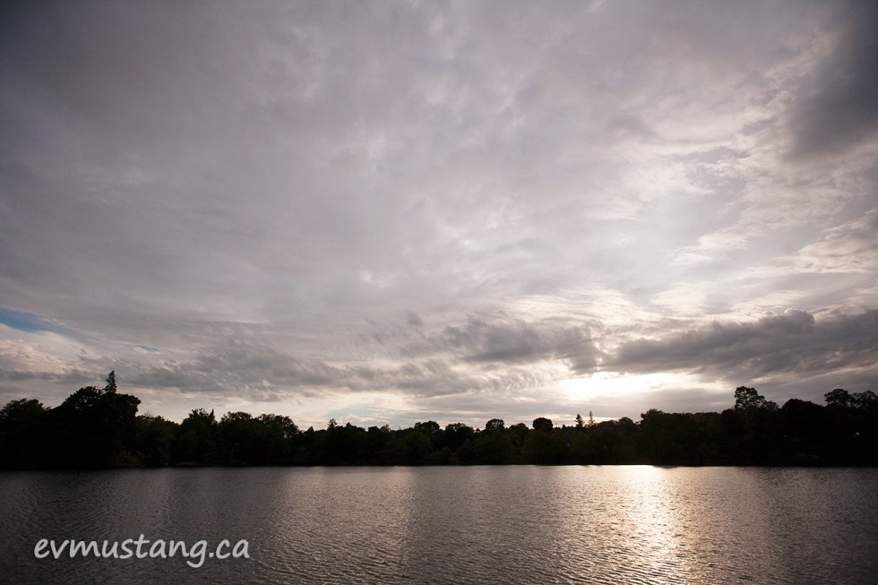 image of cloudy sunset over the otonabee river, peterborough