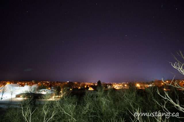 image of the city of peterborough at night taken from the north in winter