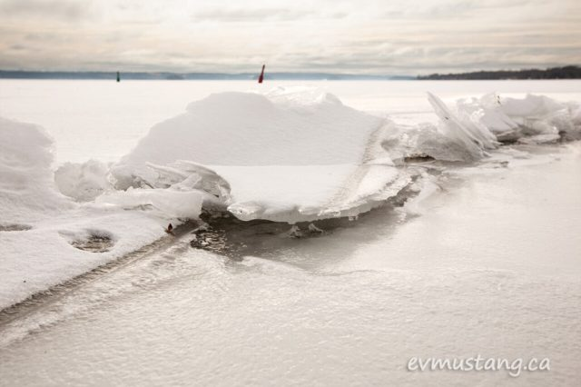 image of a jagged ice shelf pushed up through the surface of rice lake