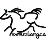 image of the mustang wordmark. a line drawing of a horse similar to those in caves in france. under the horse is the text evmustang.ca