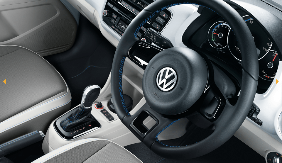 VW e-Up! steering wheel and shifter.Credit: Volkswagen.