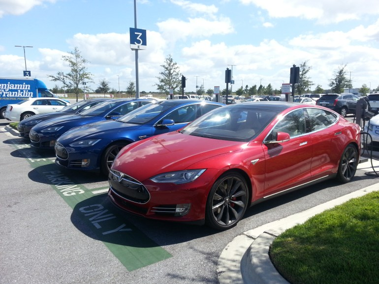 Tesla Model S red blue black grey