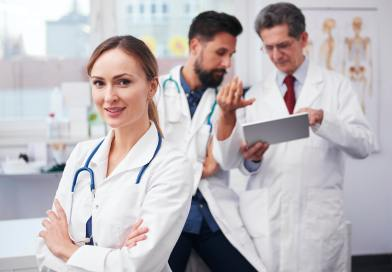Consultations with doctors and portrait of female doctor