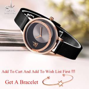 SK Fashion Luxury Brand Women Quartz Watch Wrist Watches cb5feb1b7314637725a2e7: Black M|Rose Black M|Rose White L|Silver L