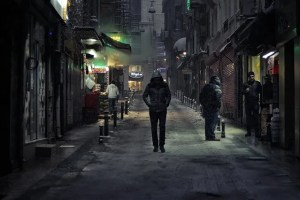 Man walking alone at night