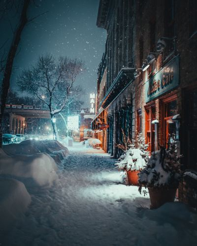Winter time in a city