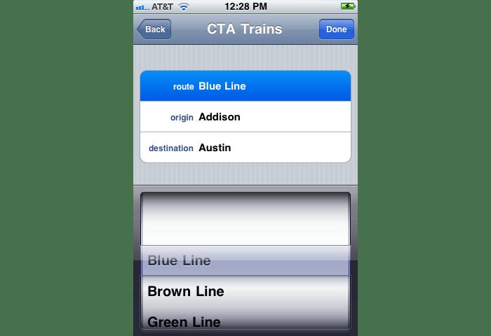goroo Interface - CTA Train Selection